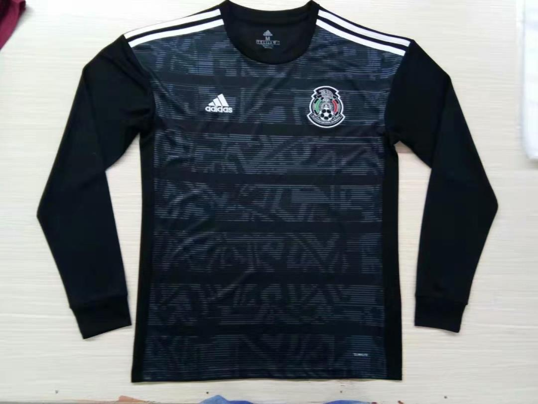 AAA Quality Mexico 19/20 Home Black Long Soccer Jersey