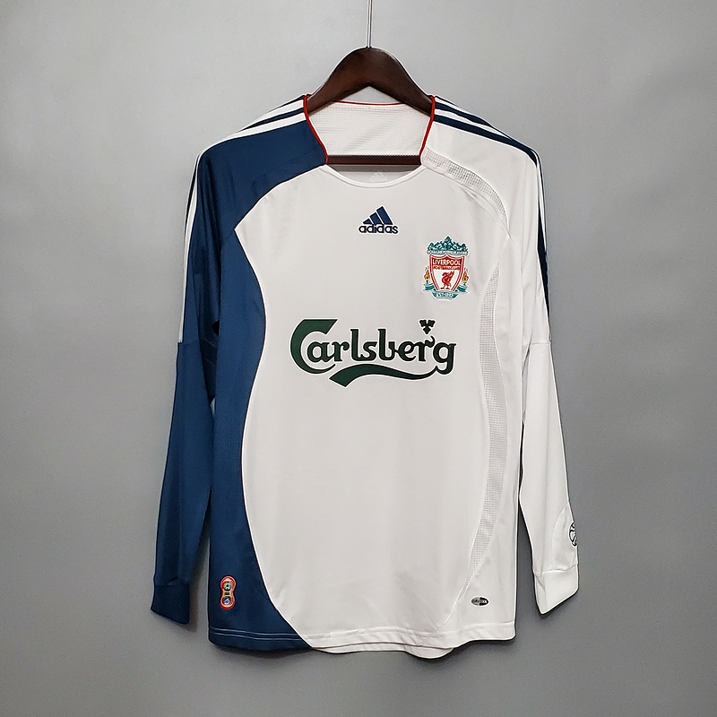 AAA Quality Liverpool 06/07 Away White Long Soccer Jersey