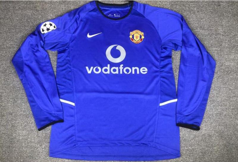 AAA Quality Manchester Utd 02/03 UCL Away Blue Long Jersey