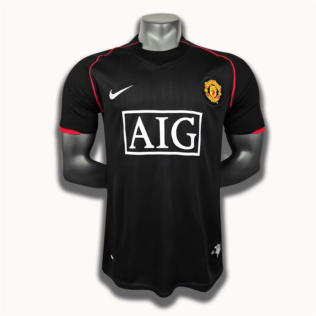 AAA Quality Manchester Utd 07/08 Away Black Soccer Jersey
