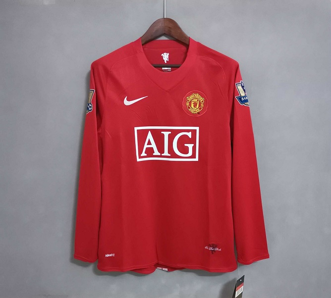 AAA Quality Manchester Utd 07/08 Home Long Soccer Jersey