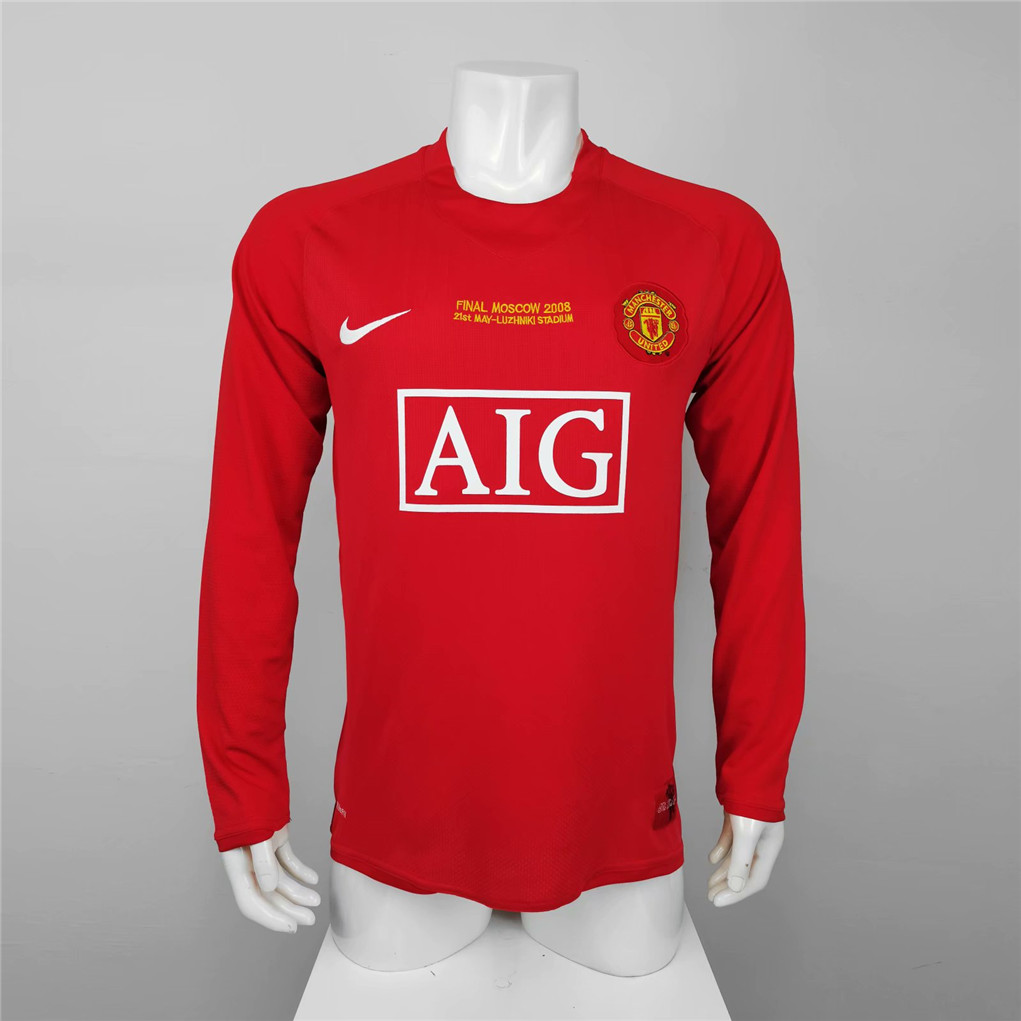 AAA Quality Manchester Utd 07/08 UCL Home Long Soccer Jersey