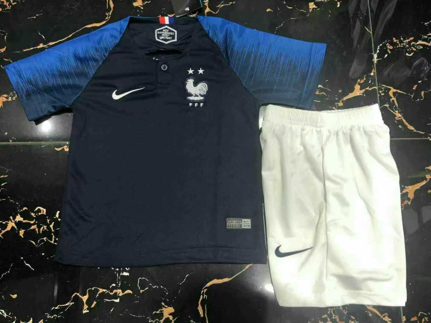 Kids-France 2018 World Cup Home Soccer Jersey(2 Stars)